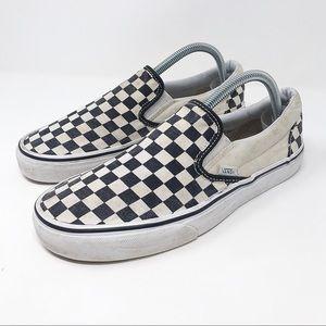 Vans Black and White/Cream Checkered Slip Ons